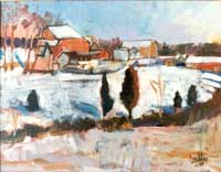 Original painting of VA Farm in Winter