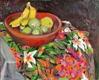 Fruit Bowl on Flower Cloth